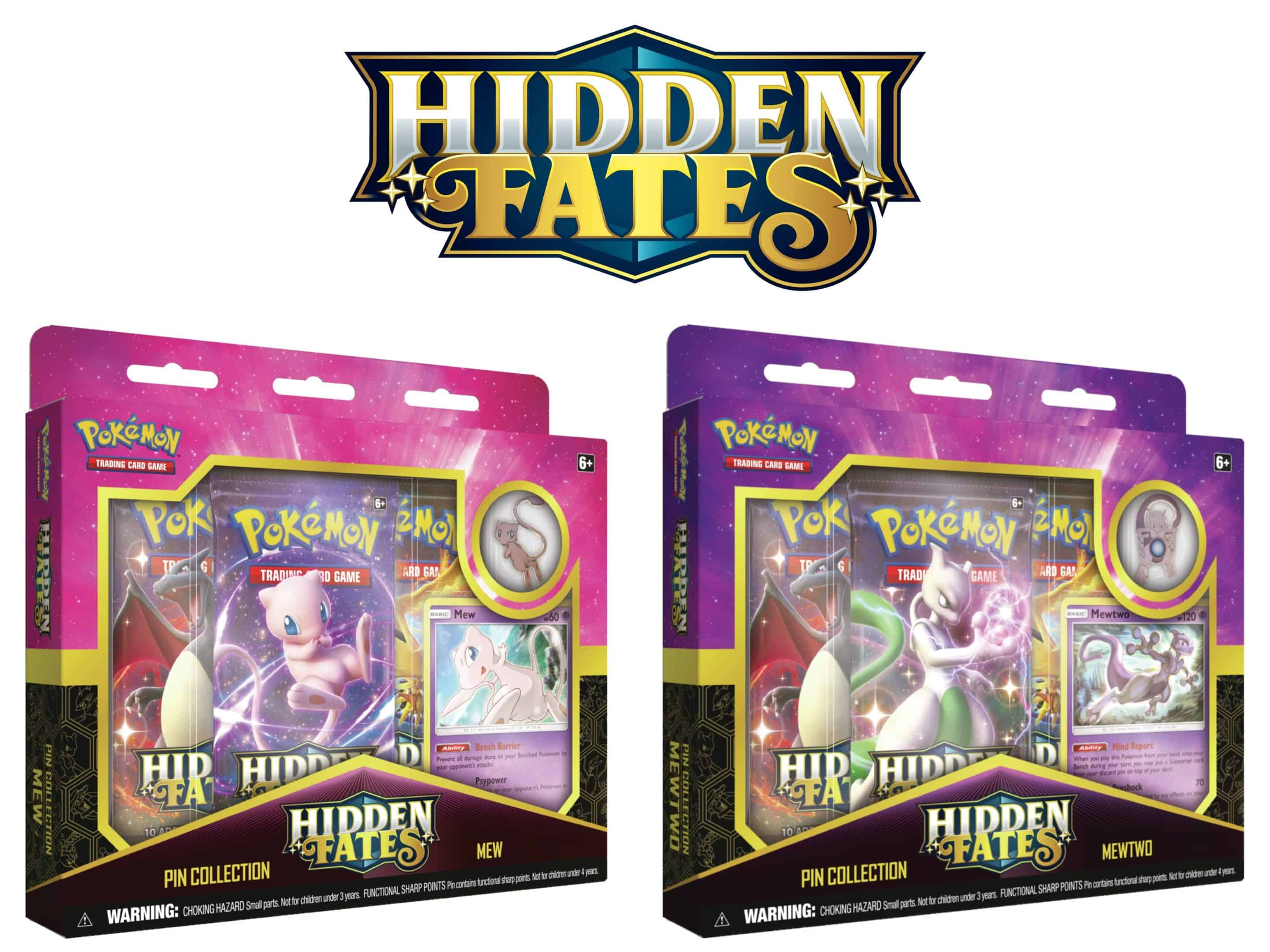 Hidden Fates Special Pokemon TCG Set Mew Mewtwo Pin Collection CardCollectors