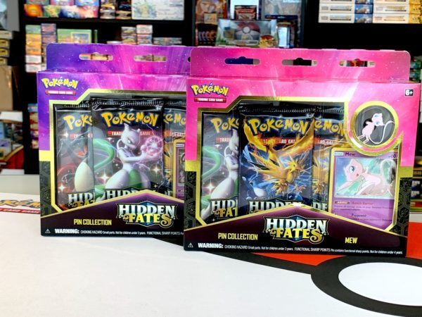 Hidden Fates Mew Mewtwo Pin Collection Side CardCollectors Pokémon TCG