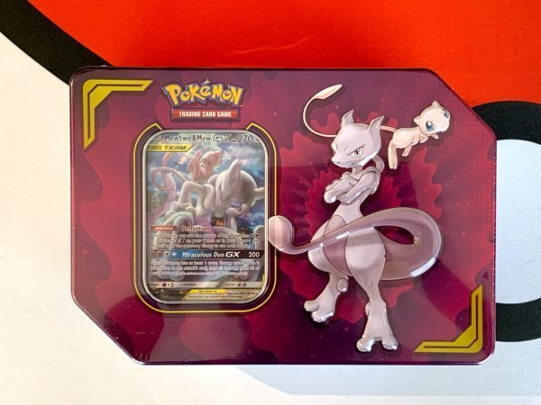 TAG TEAM Power Partnership Tin Mewtwo Mew Front CardCollectors