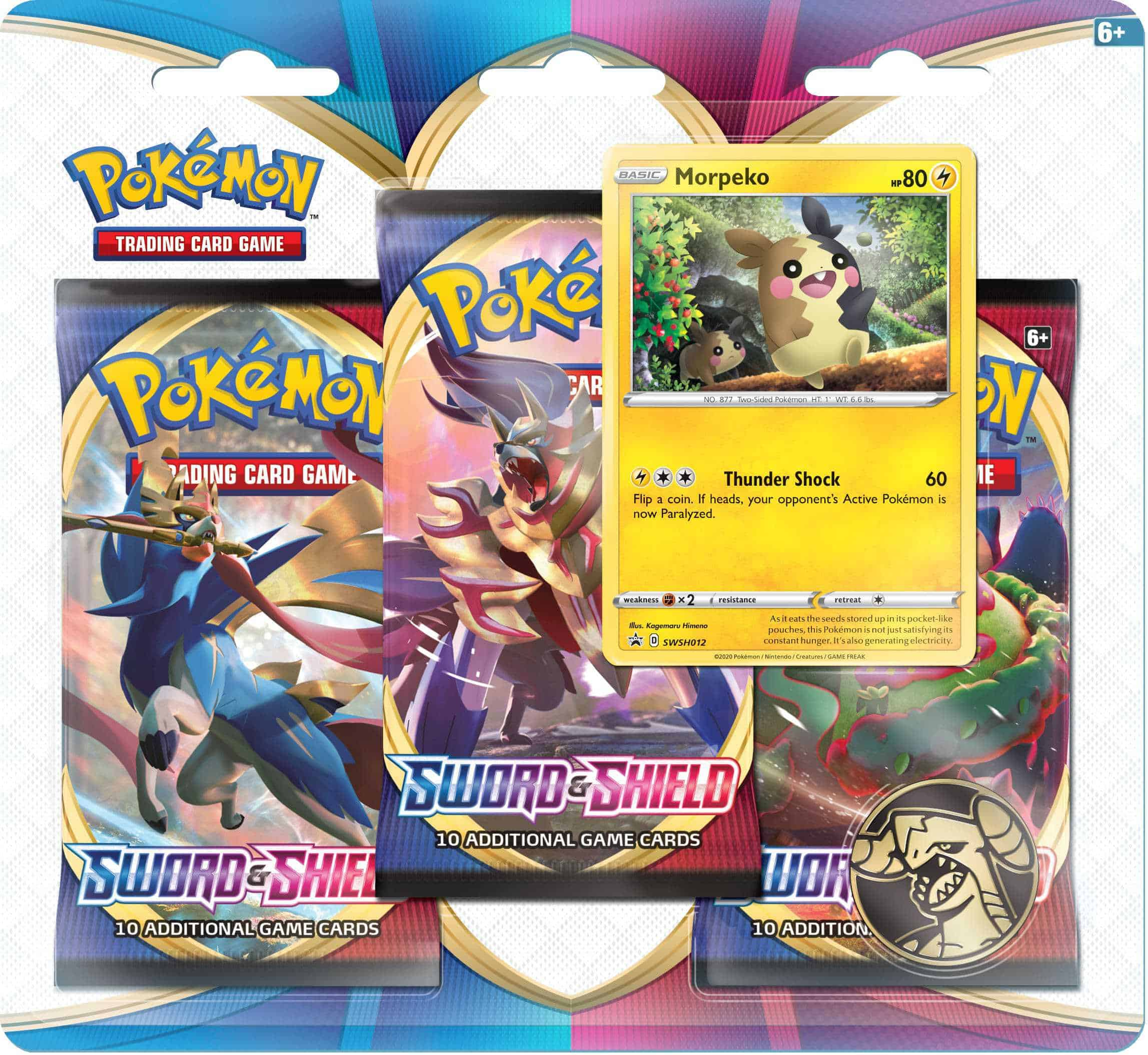 Sword Shield Pokemon TCG SWSH§ 3 Pack Blister Morpeko Promo