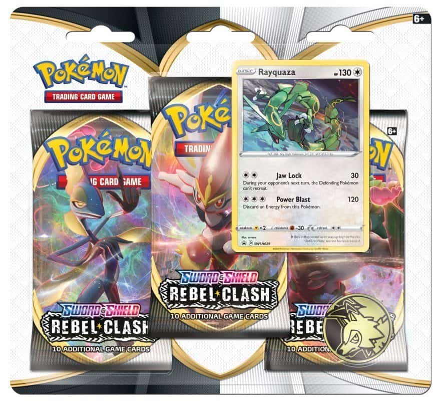 Pokemon TCG Sword Shield SWSH2 Rebel Clash 3 Pack Promo Blister Rayquaza Promo