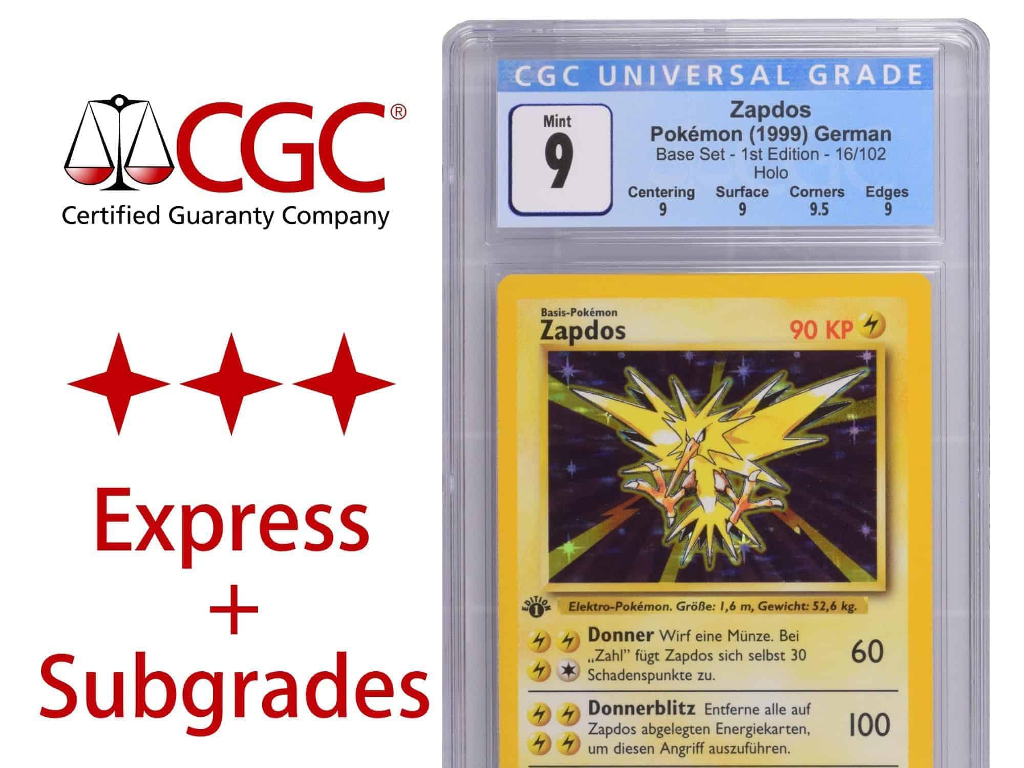 CGC Grading Ticket: 1 Karte TCG – Express Service mit Subgrades